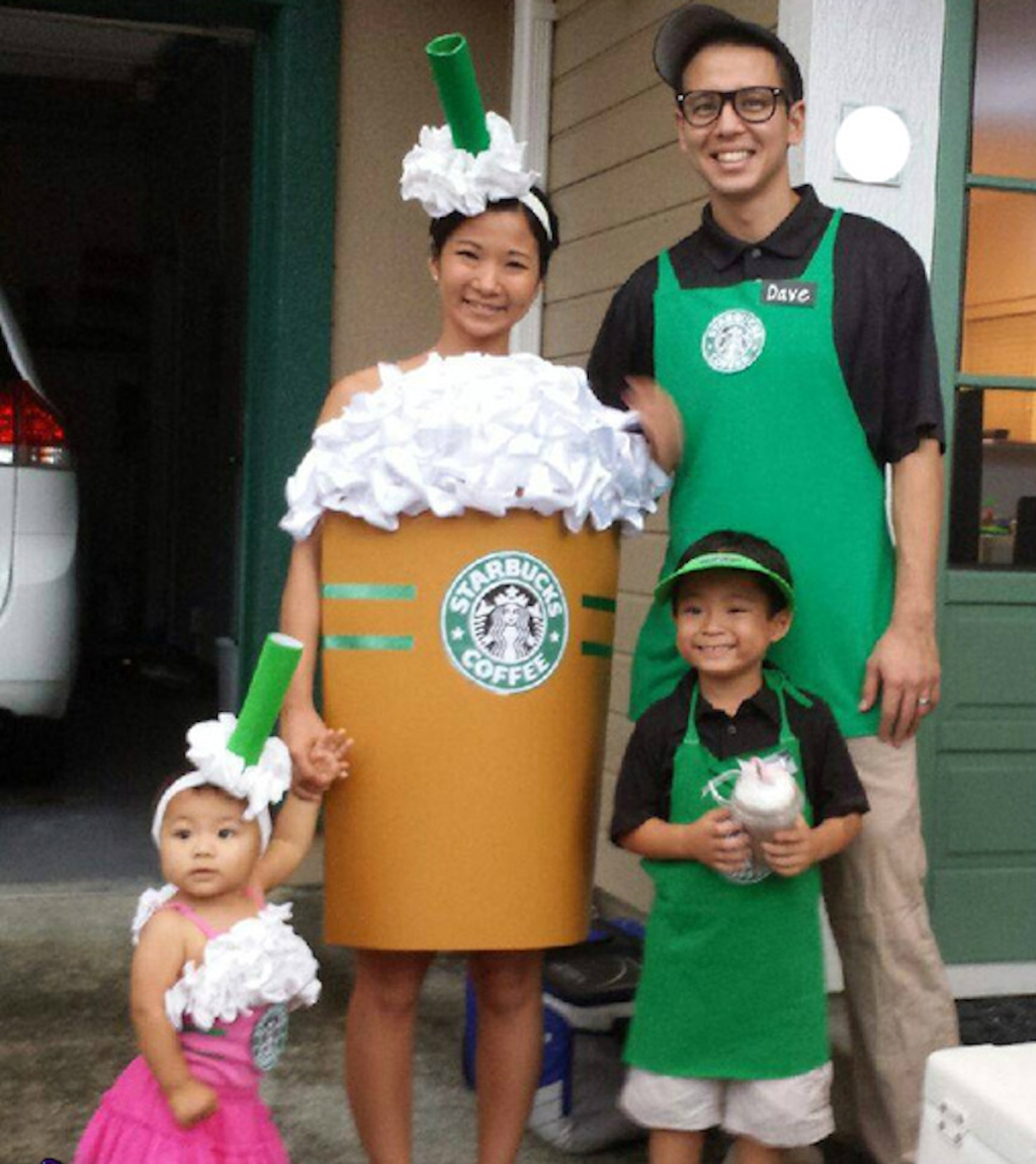 starbucks family costumes frap drinks and baristas