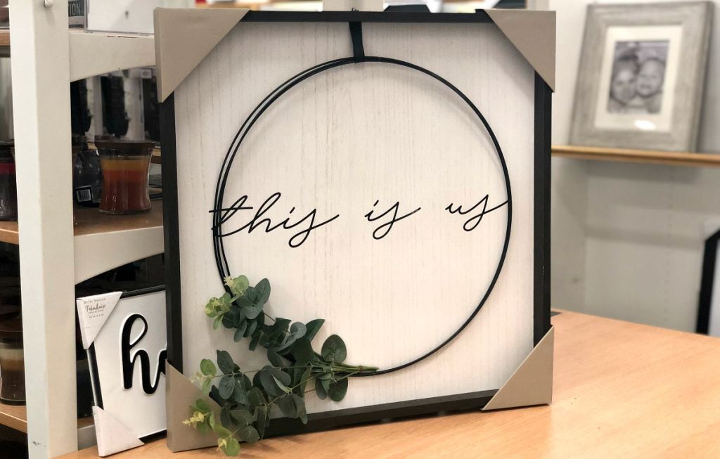 this is us circle square farmhouse sign at Kohl's