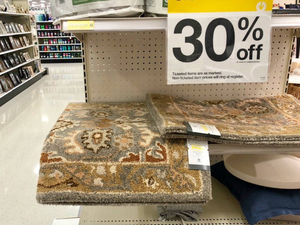 carpet in store on shelf with clearance tag