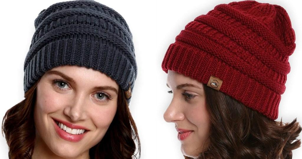 woman wearing tough headwear beanie
