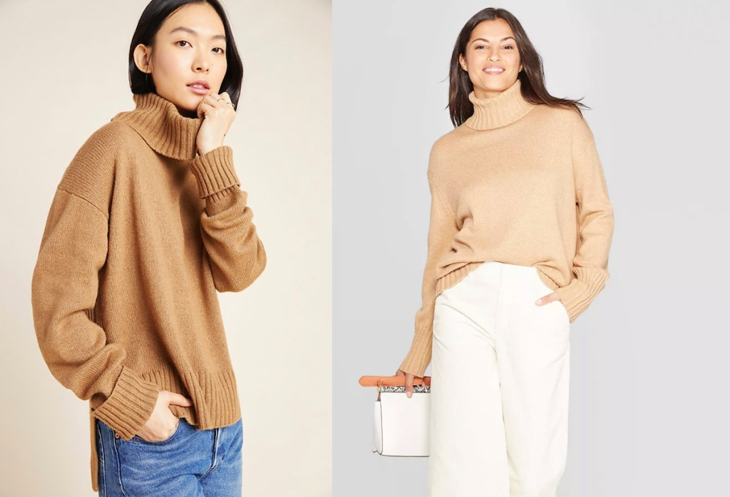 two women wearing brown camel colored turtleneck sweaters
