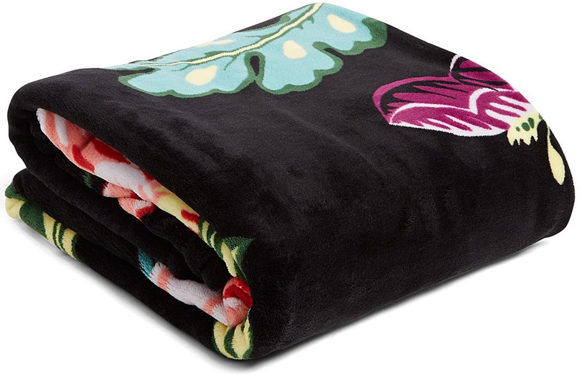 vera bradley black floral vines throw blanket