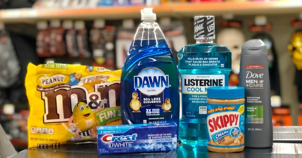 m&m's fun size halloween candy, crest toothpaste, dawn dish liquid, listerine mouthwash, skippy peanut butter and dove men + care shampoo at walgreens