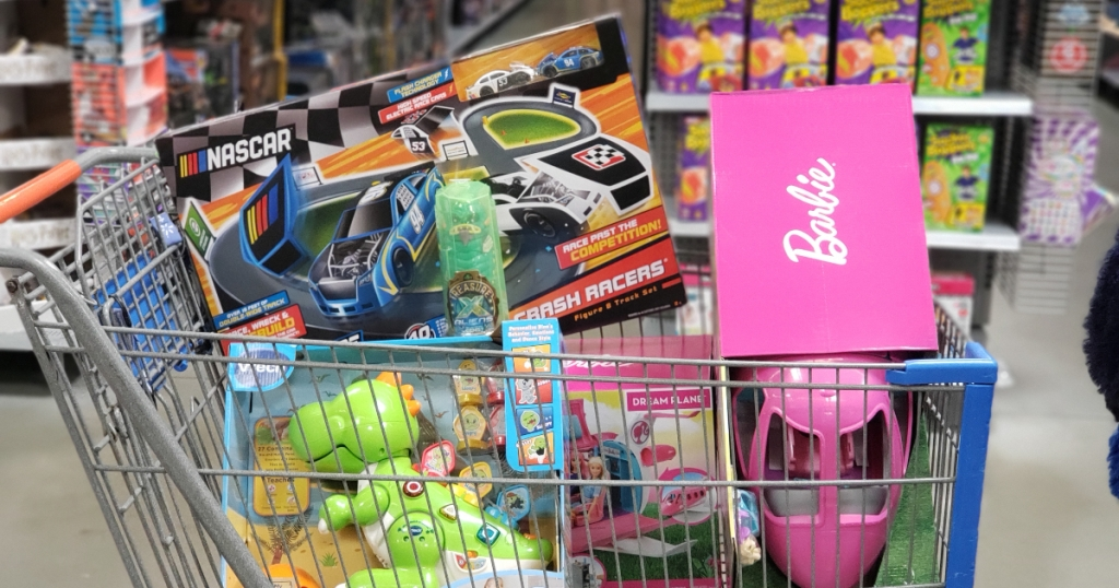 Walmart cart with toys