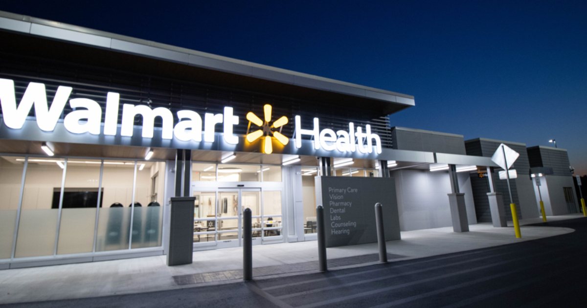 Walmart Health clinic at night