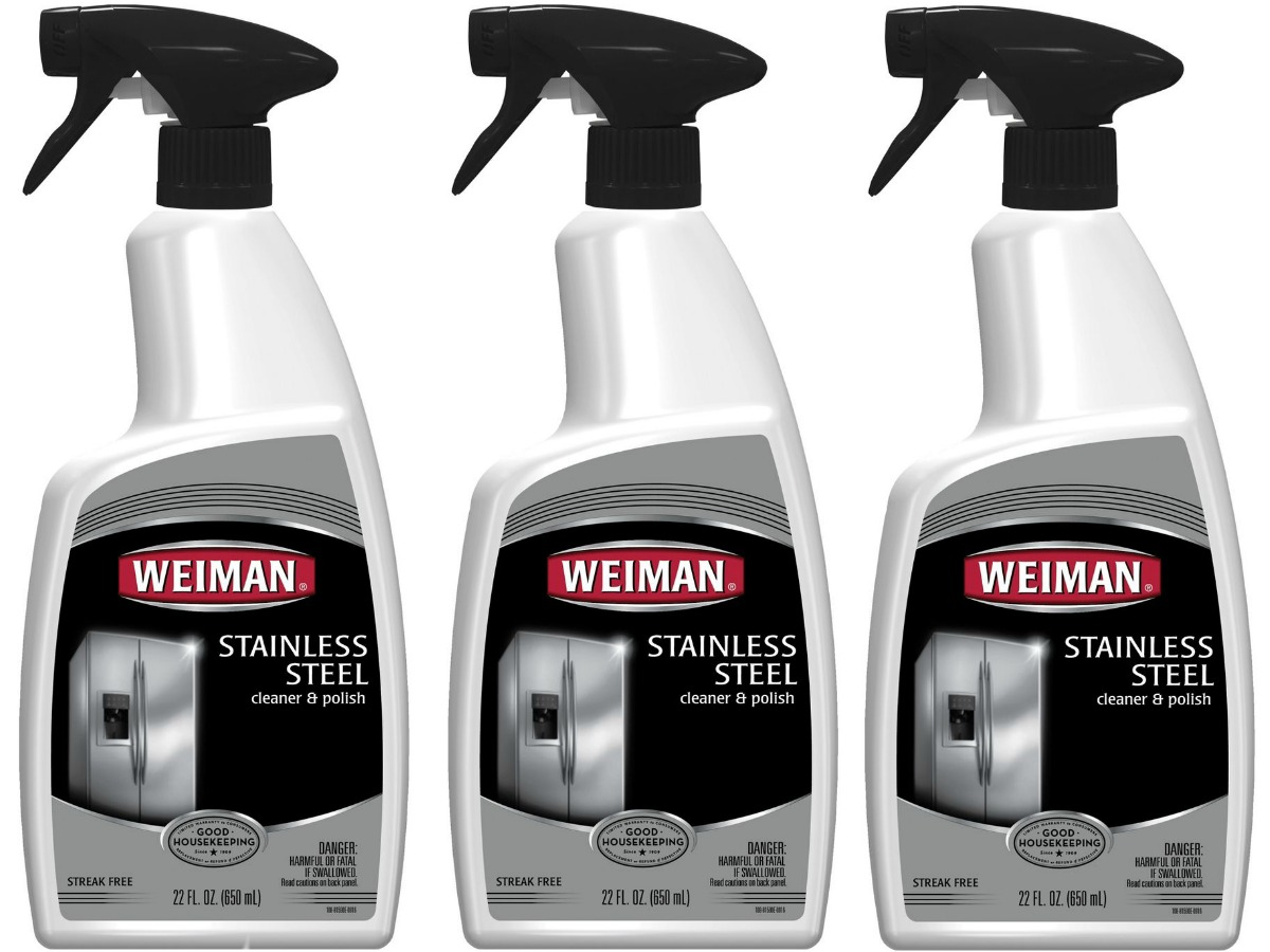 three bottles of stainless steel cleaner