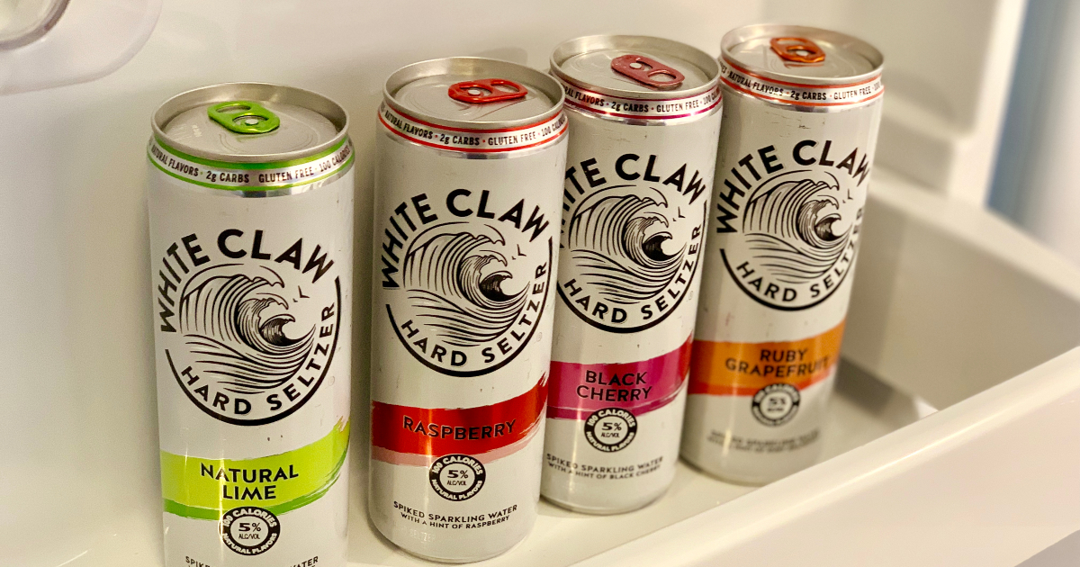 White Claw in fridge door