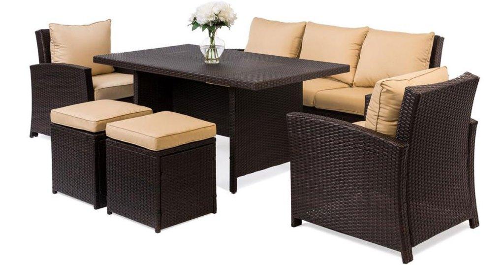 6 piece outdoor wicker patio set in brown