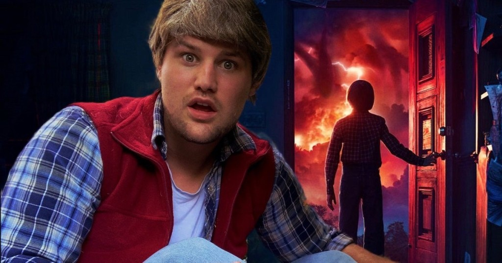man wearing stranger things costume with movie background