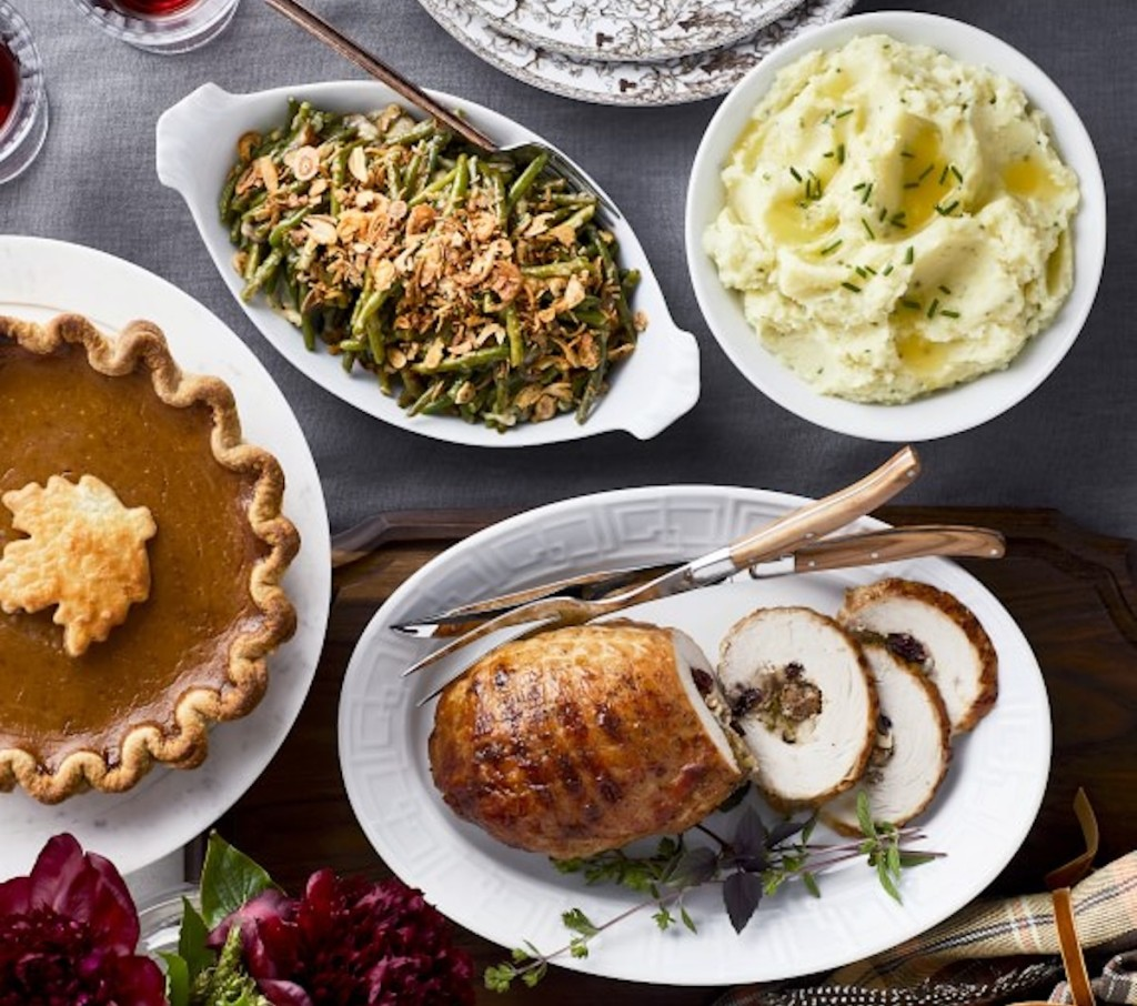williams sonoma thanksgiving dinner on table