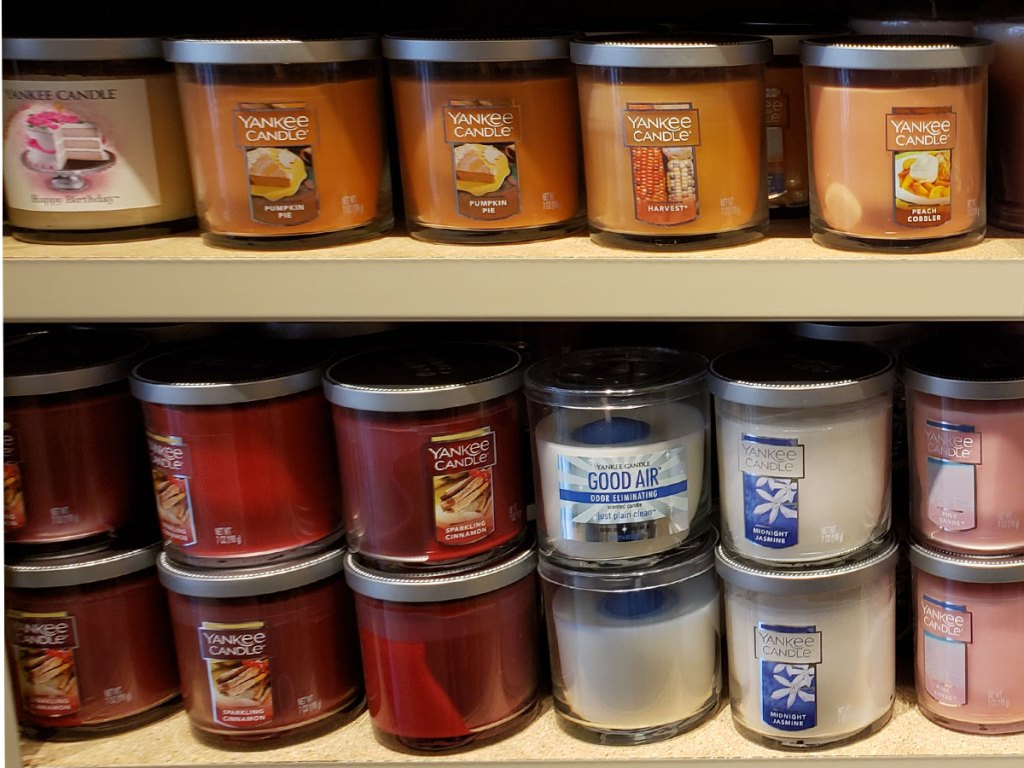 yankee candle small tumbler jar candles on a shelf