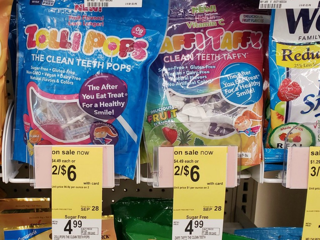 bags on candy with price tags on store shelf
