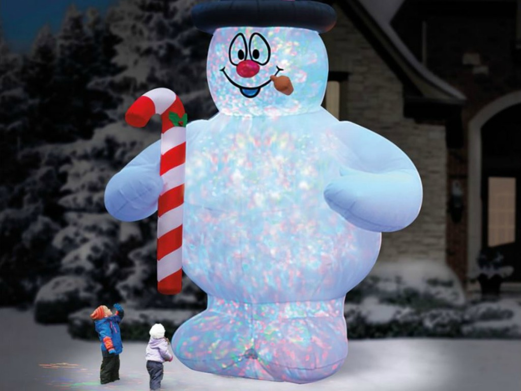 giant inflatable frosty the snowman with lights