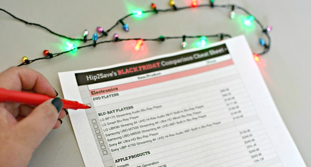 2019 black friday cheat sheet with Christmas lights