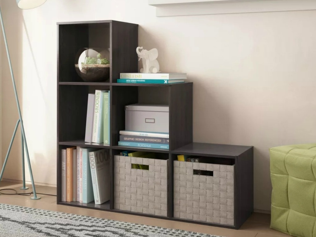 Cube organizer with books and fabric drawers
