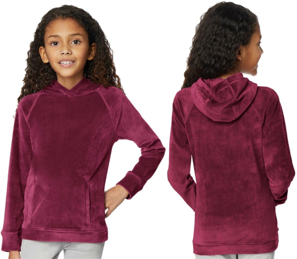 Two angles of Girls 32Degree hoodies in red/maroon color