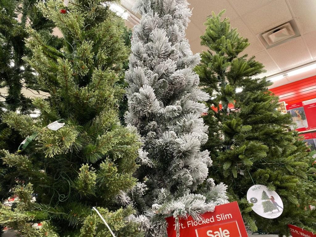 7' flocked Slim tree on Michaels display