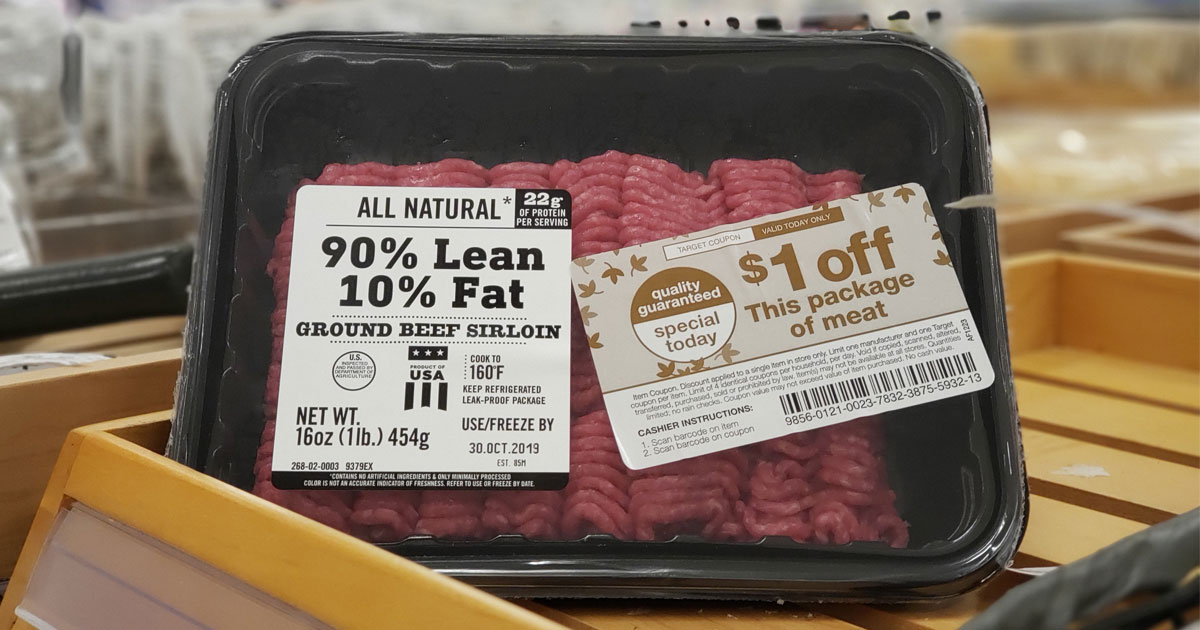 ground beef on shelf at Target
