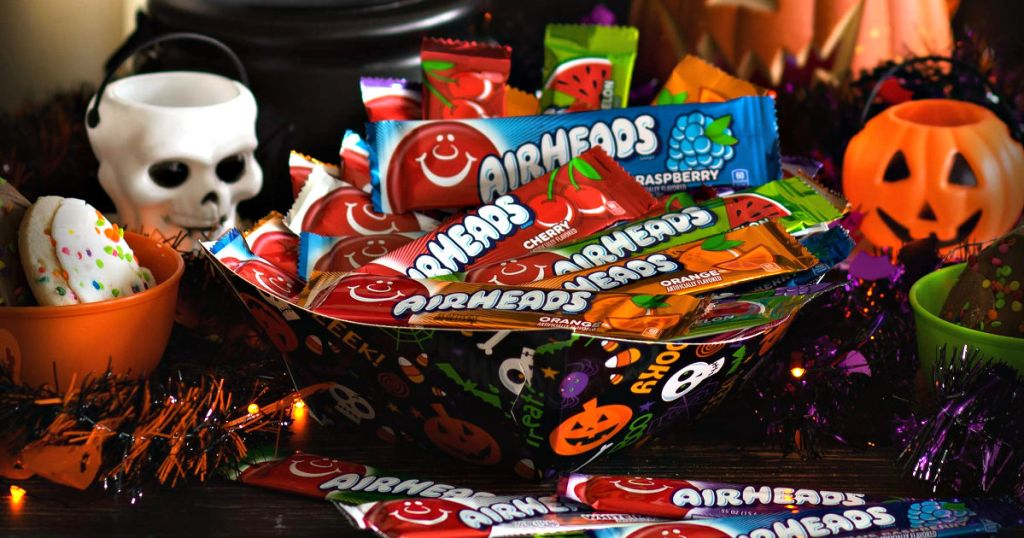 bowl of airheads candy with halloween decor
