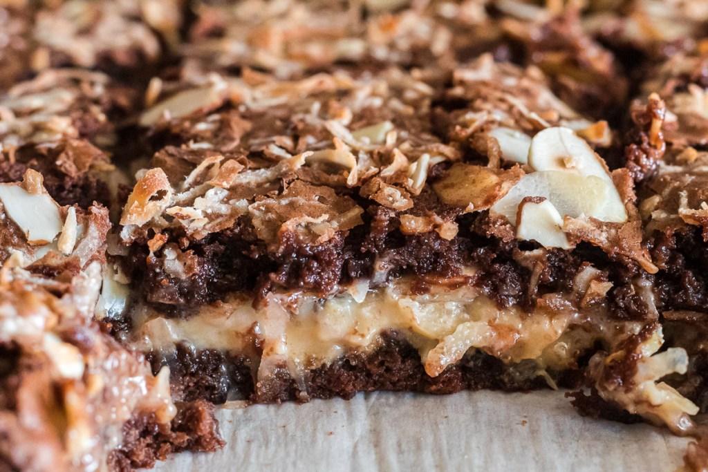 close up of brownies