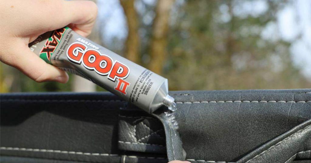 Amazing Goop II Max being applied to black bag