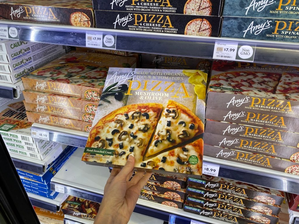 Amy's Pizza held in store cooler case