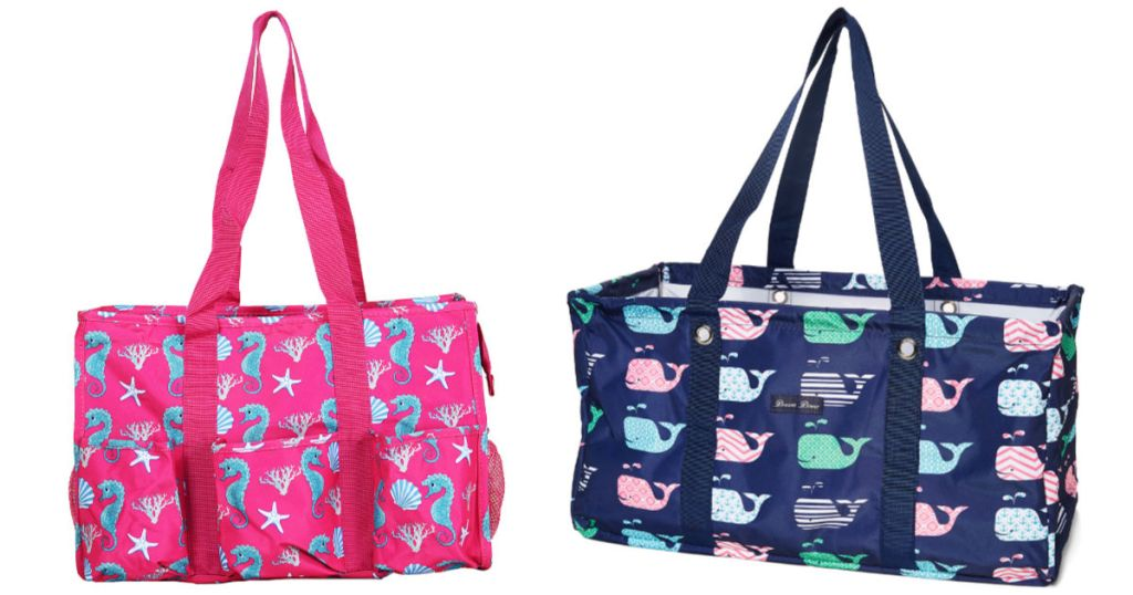 pink bag with seahorse design and blue bag with whale design