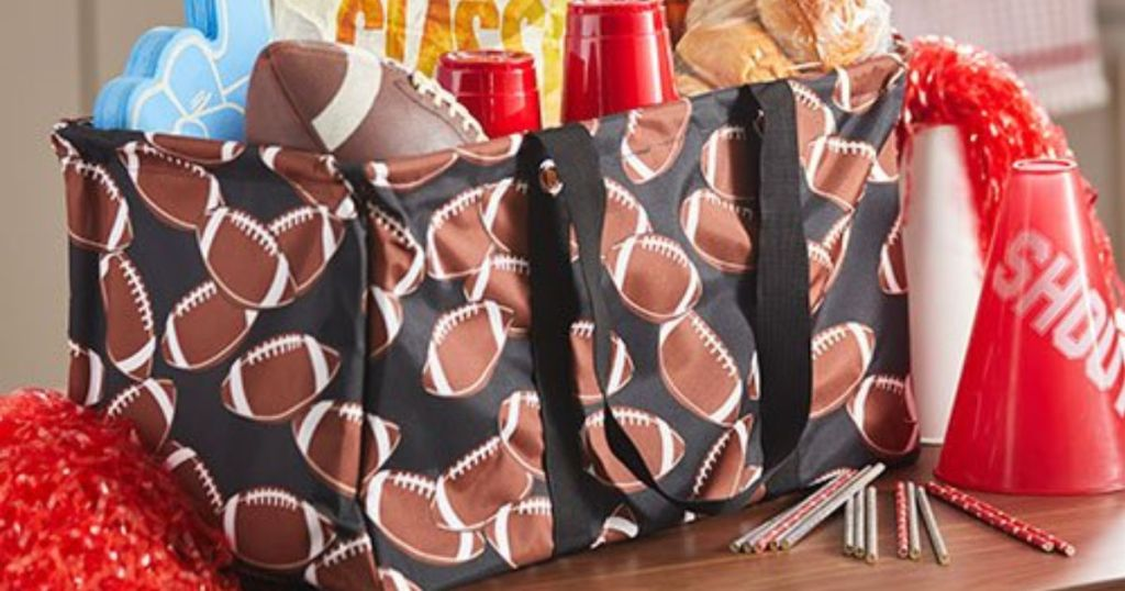 football tote with tailgate supplies in tote