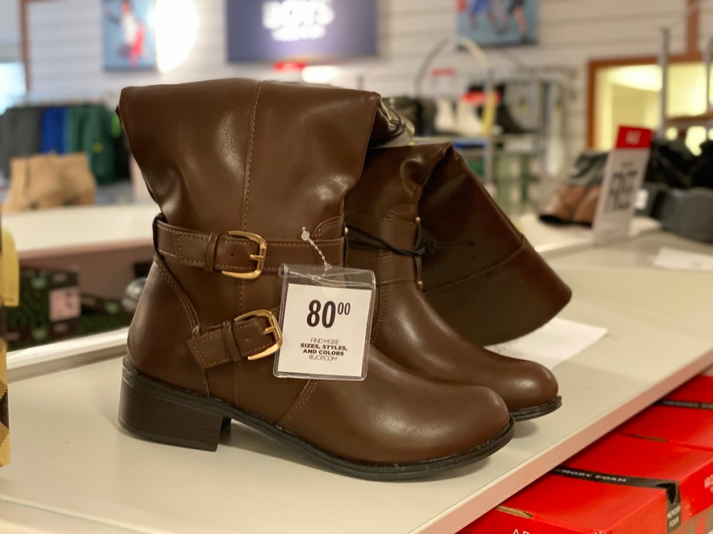 Arizona Women's Riding Boots on shelf at JCPenney