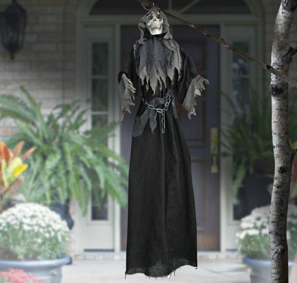 Ashland 6-Foot Robed Reaper in front of house