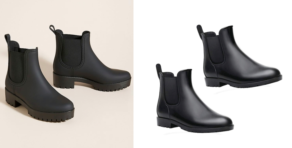 anthropologie dupe side by side of black rain boots