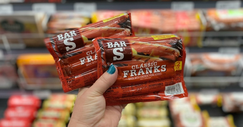 Bar-S Franks held up in front of store cooler