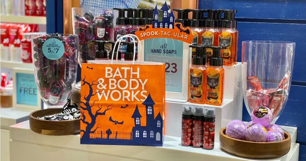 Bath and Body works Fall items on display table