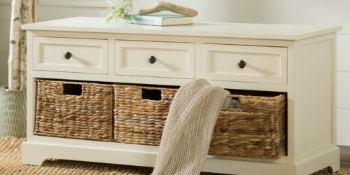 Wood Storage Bench w/ Baskets Only $135.99 Shipped (Regularly $230)