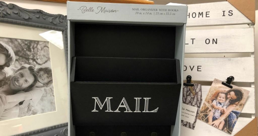 Belle Maison Mail Organizer with Hooks on shelf