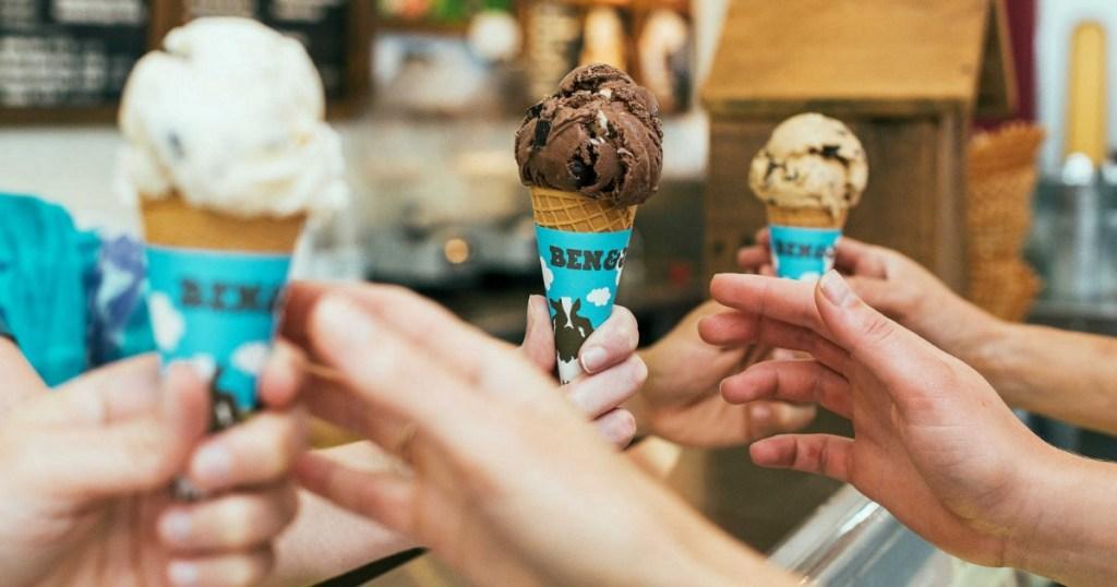 People taking Ben & Jerry's Ice Cream Cones