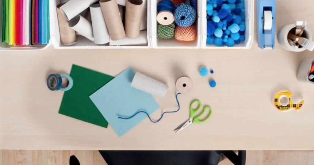 Scotch Kid Scissors on desk with craft supplies