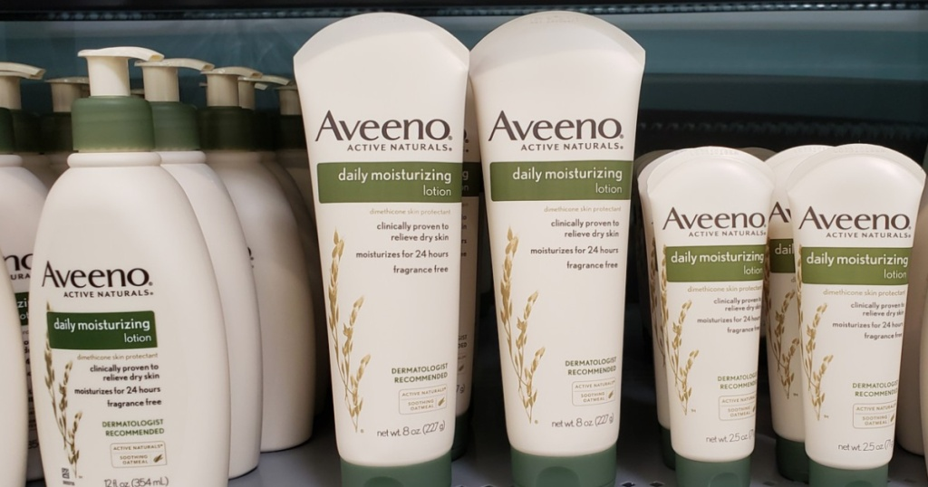 Aveeno lotion on Walmart shelf