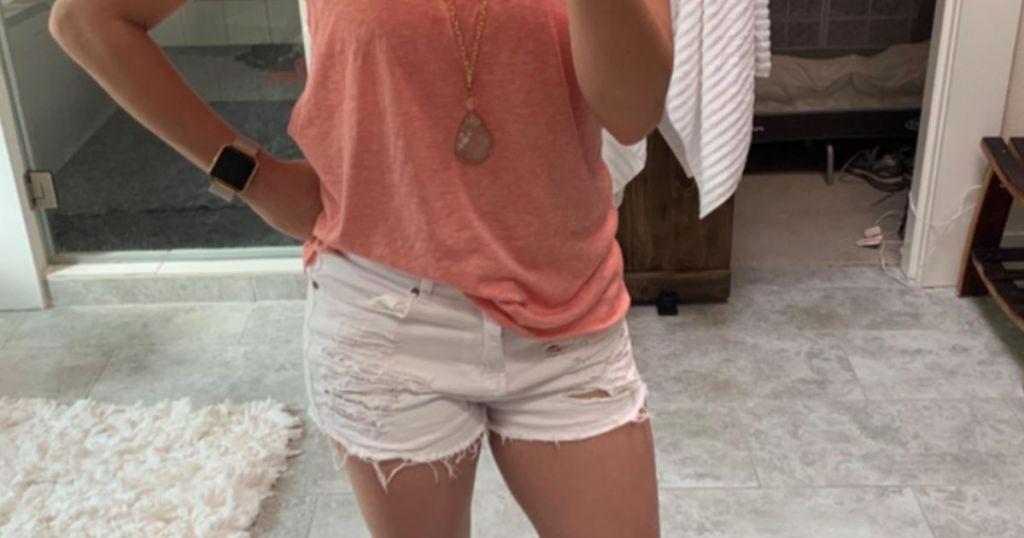 MODARANI Frayed Denim Shorts Amazon