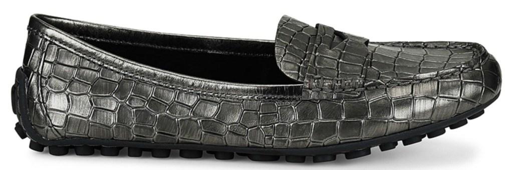 Pewter Croc Malena Metallic Leather Loafer - Women Børn