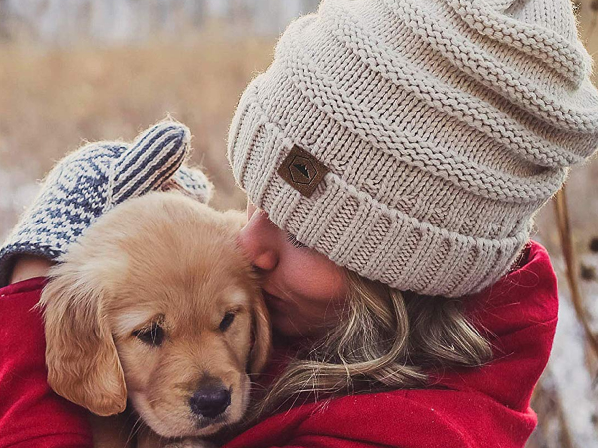 Woman Wearing Slouchie Beanie Hats with puppy
