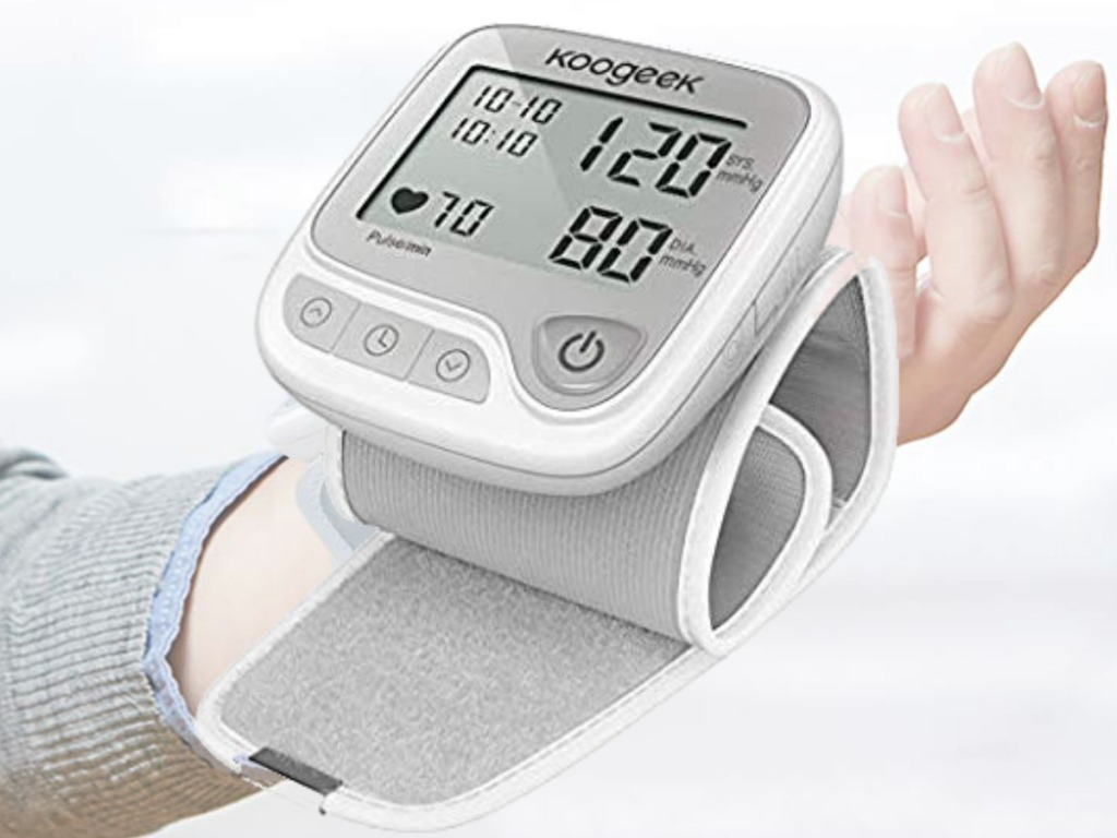 Blood Pressure Monitor Wrist Cuff from Amazon in gray and white