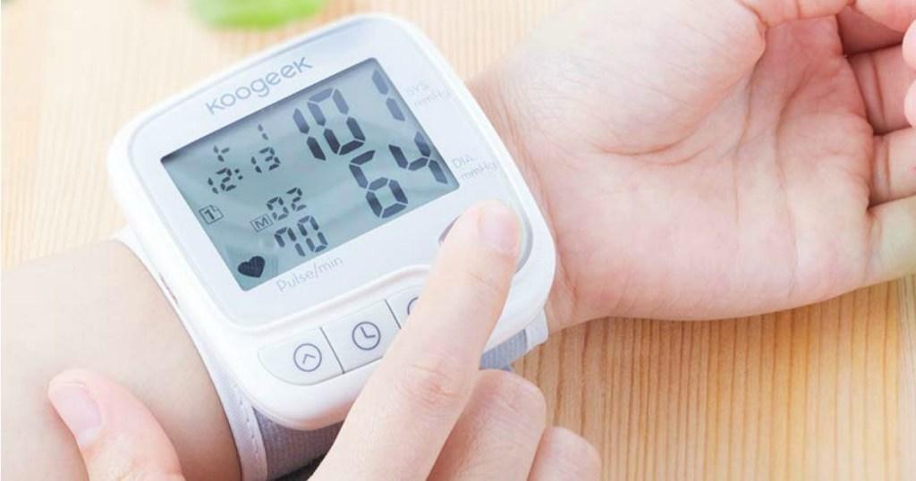 Person wearing a Digital Blood Pressure Monitor Wrist Cuff