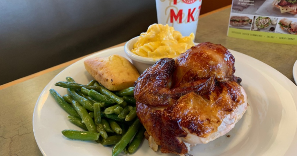 picture of Boston Market Meal with chicken, green beans, macaroni and cheese, and corn bread