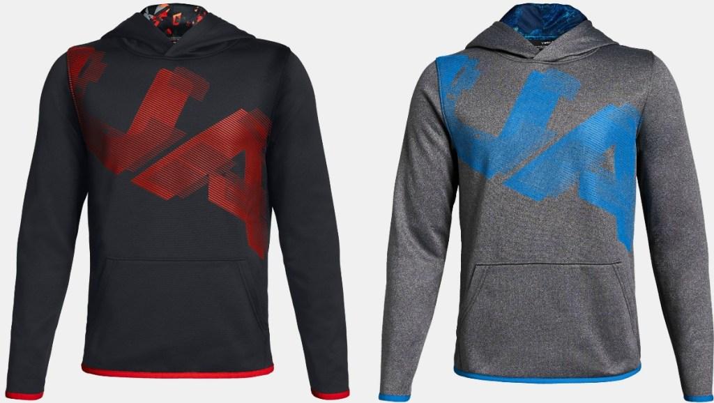 Two styles of Boys Under Armour Logo Fleece Hoodie