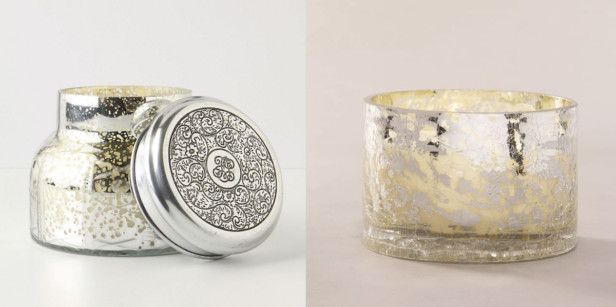 side by side stock photos of silver mercury glass candles