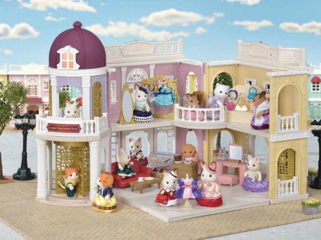Calico Critters Grand Department Store set up with Calico Critters figures