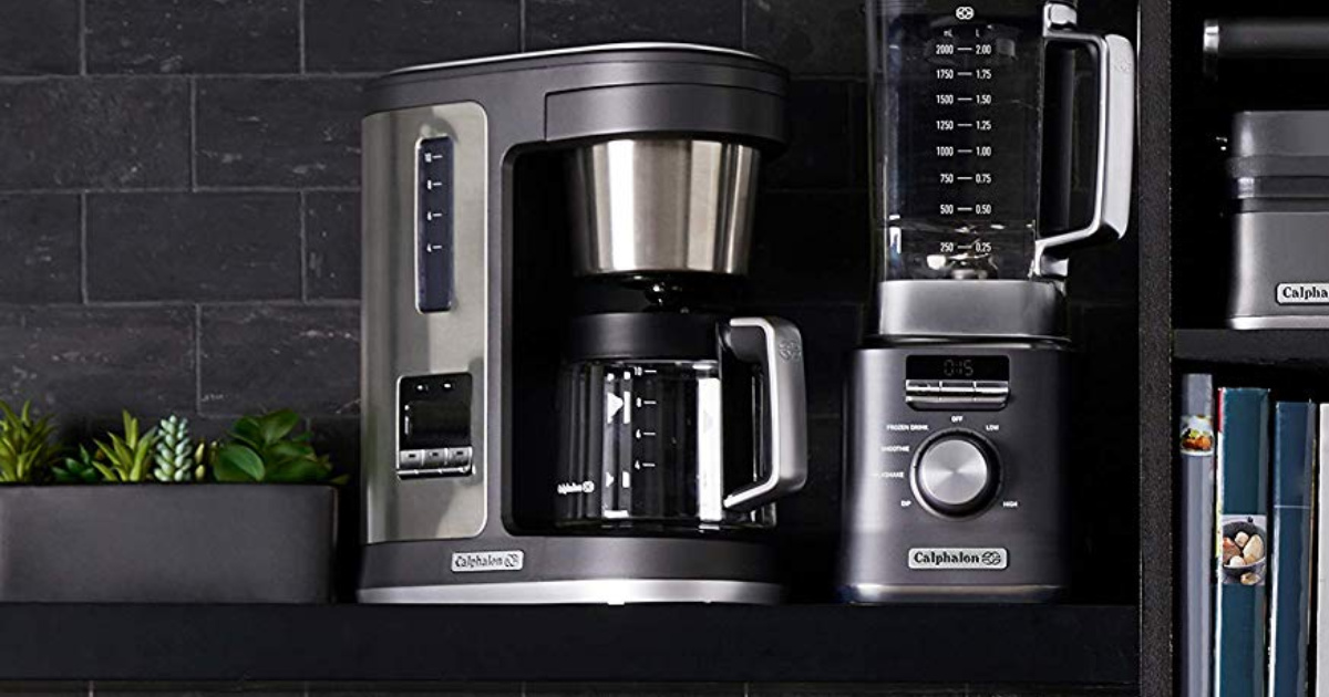 coffee maker in kitchen by other appliances