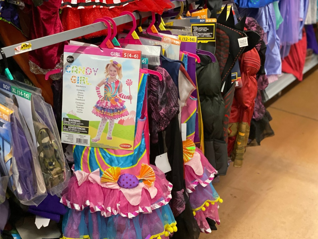 candy girl costumes hanging in-store