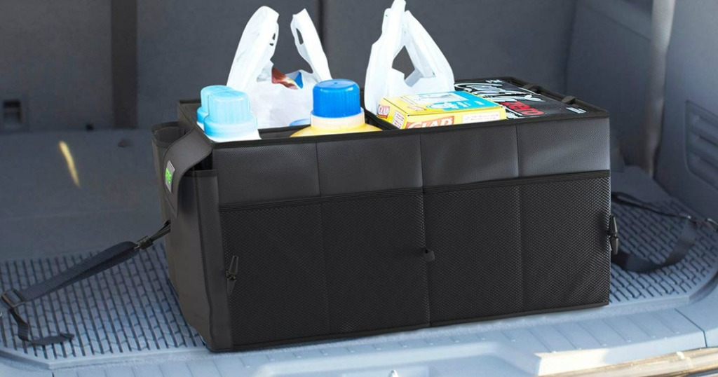 Cargo Trunk Organizer with groceries in trunk